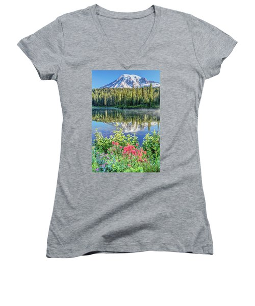 Women's V-Neck T-Shirt (Junior Cut) featuring the photograph Rainier Wildflowers At Reflection Lake by Pierre Leclerc Photography