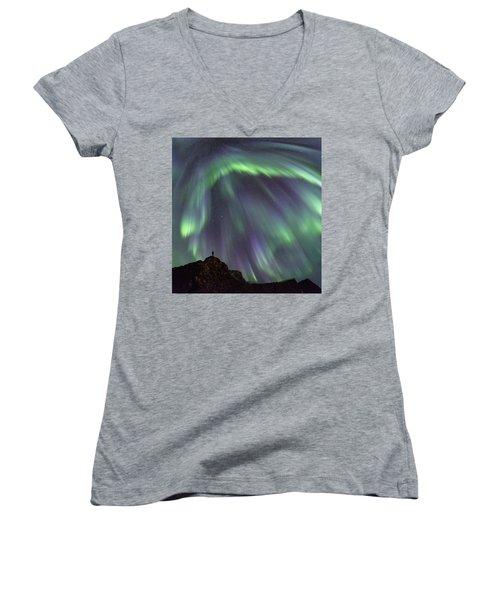 Raining Light Women's V-Neck T-Shirt (Junior Cut) by Alex Conu