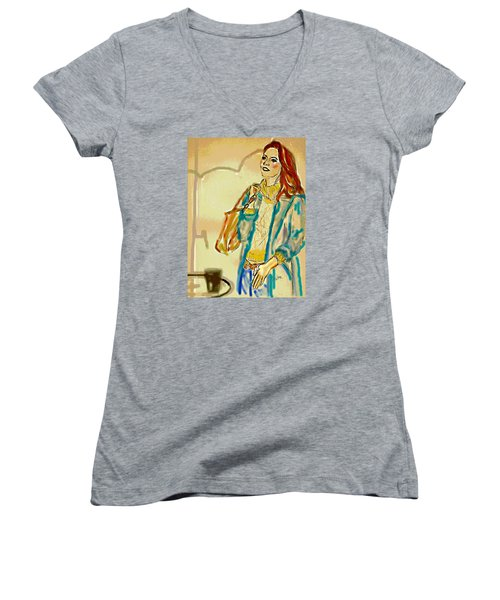 Women's V-Neck T-Shirt (Junior Cut) featuring the digital art Rainny Days And Mondays by Desline Vitto