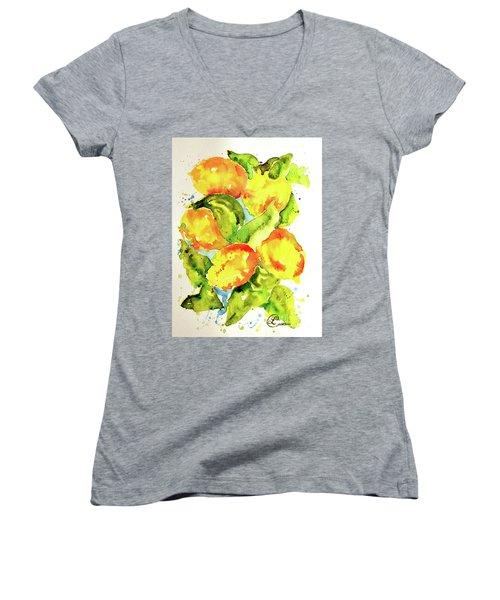 Rainwashed Lemons Women's V-Neck T-Shirt (Junior Cut) by Lynda Cookson