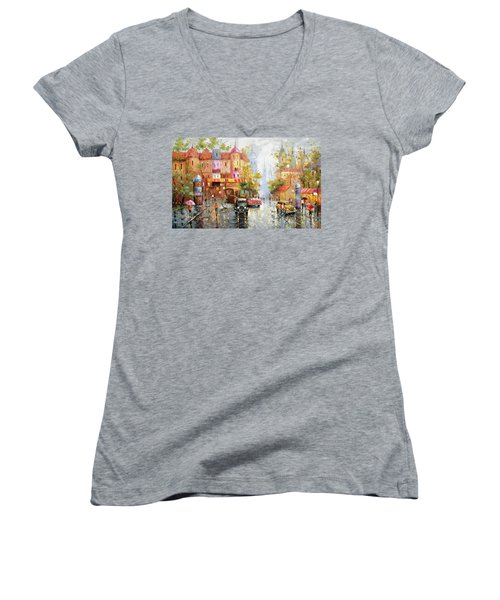 Women's V-Neck T-Shirt (Junior Cut) featuring the painting Rainy Day 3 by Dmitry Spiros
