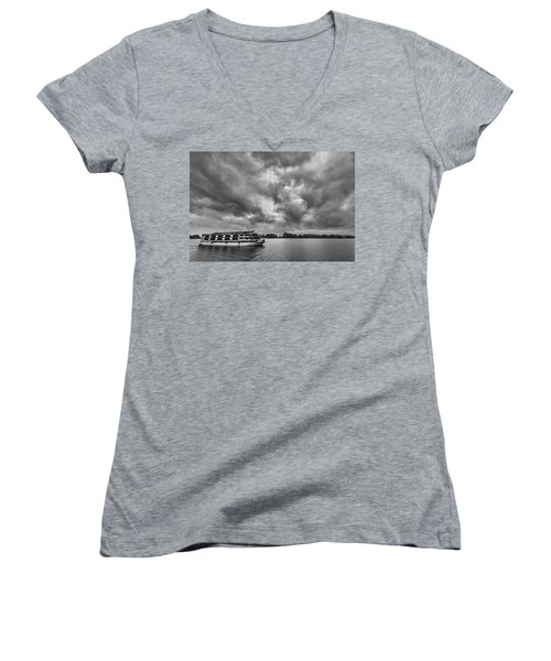 Women's V-Neck T-Shirt (Junior Cut) featuring the photograph Rainy Day Cruise by Hitendra SINKAR
