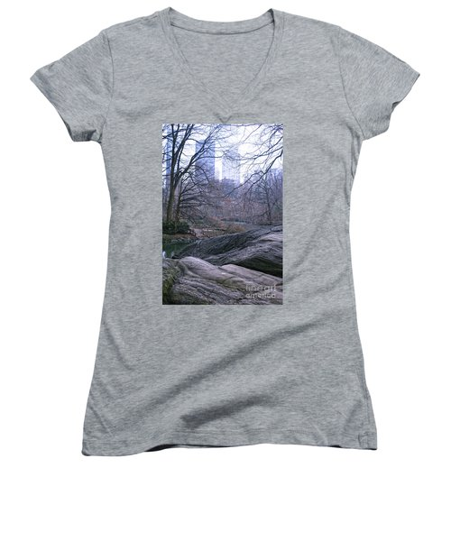 Rainy Day In Central Park Women's V-Neck T-Shirt