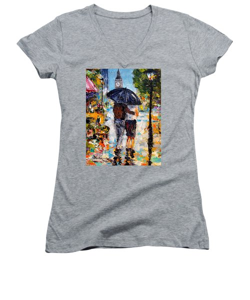 Rainy Day In Olde London Town Women's V-Neck (Athletic Fit)