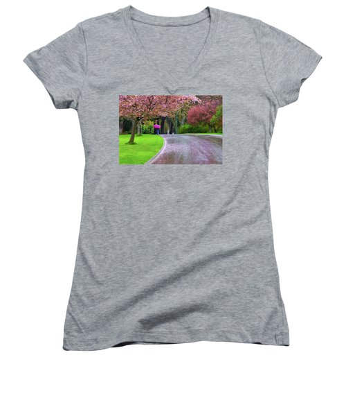 Rainy Day In The Park Women's V-Neck T-Shirt (Junior Cut) by Keith Boone