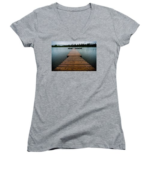 Women's V-Neck T-Shirt (Junior Cut) featuring the photograph Rainy Dock by Darcy Michaelchuk