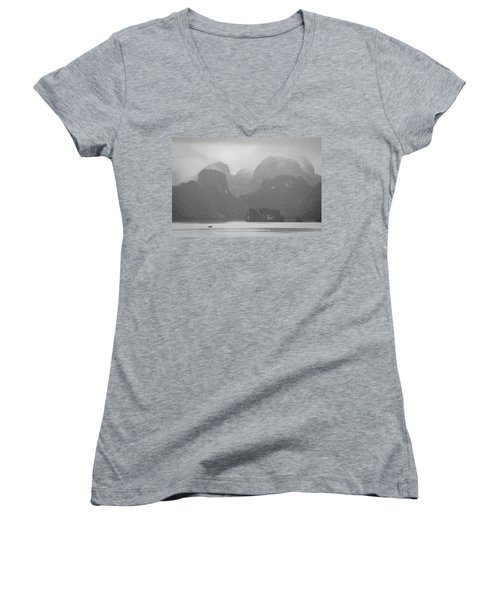 Women's V-Neck T-Shirt (Junior Cut) featuring the photograph Rainy Ha Long Bay, Ha Long, 2014 by Hitendra SINKAR