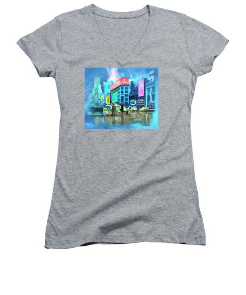 Women's V-Neck T-Shirt (Junior Cut) featuring the painting Rainy Night In New York by Michael Cleere