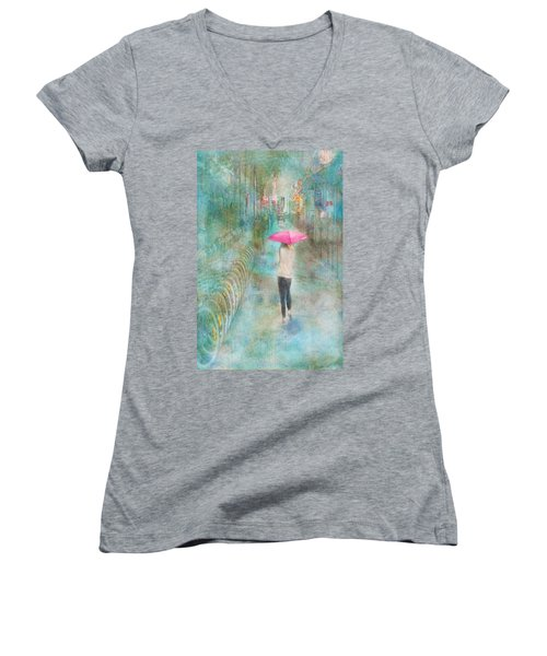 Rainy In Paris 3 Women's V-Neck T-Shirt