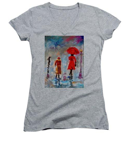Rainy Spring Day Women's V-Neck T-Shirt (Junior Cut) by Sher Nasser
