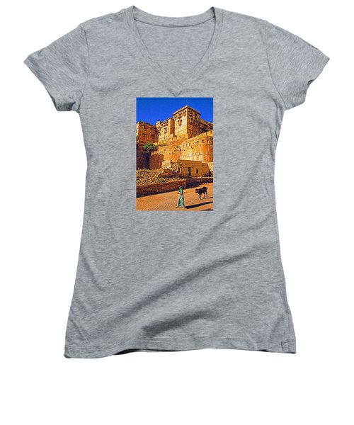 Women's V-Neck T-Shirt (Junior Cut) featuring the photograph Rajasthan Fort by Dennis Cox WorldViews