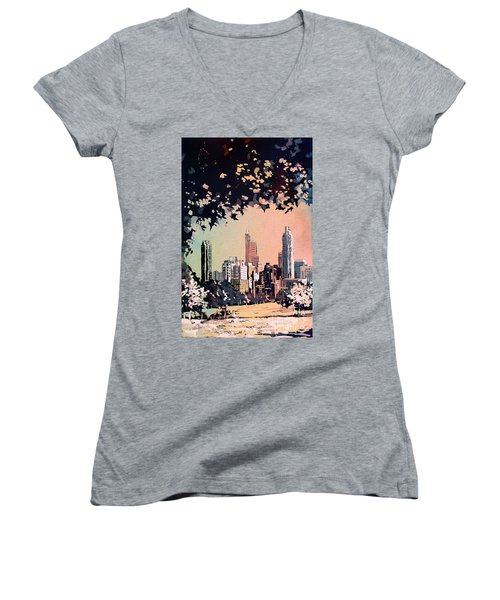 Women's V-Neck T-Shirt (Junior Cut) featuring the painting Raleigh Skyline V by Ryan Fox