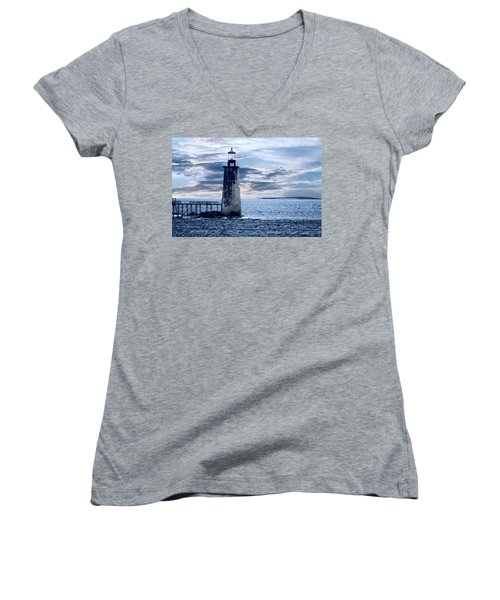 Ram Island Head Lighthouse.jpg Women's V-Neck (Athletic Fit)