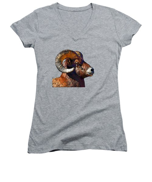 Ram Portrait - Rocky Mountain Bighorn Sheep  Women's V-Neck (Athletic Fit)