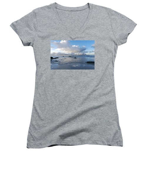 Ramberg Beach, Lofoten Nordland Women's V-Neck (Athletic Fit)