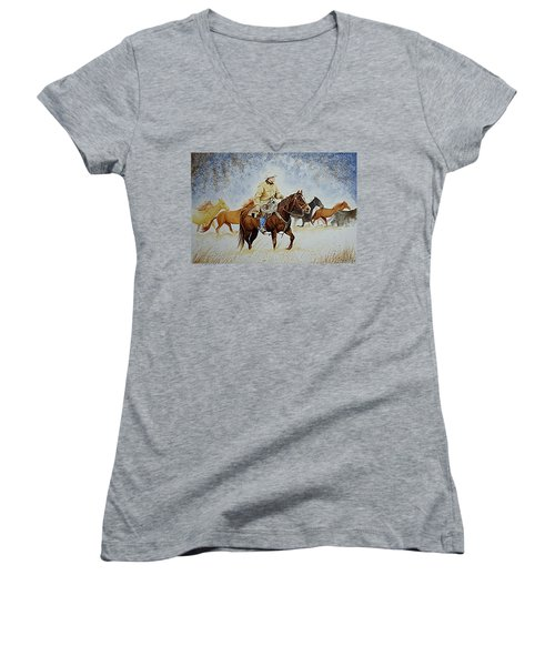 Ranch Rider Women's V-Neck T-Shirt (Junior Cut) by Jimmy Smith