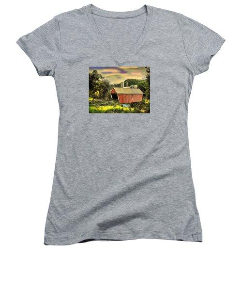 Women's V-Neck T-Shirt (Junior Cut) featuring the digital art Randolf Covered Bridge by John Selmer Sr