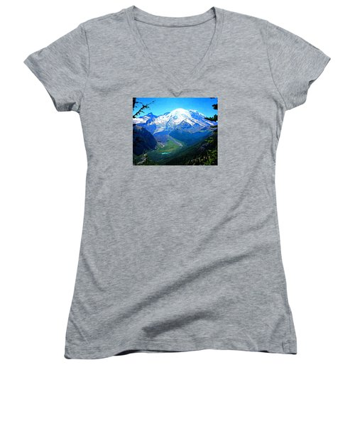 Women's V-Neck T-Shirt (Junior Cut) featuring the photograph Ranier And Little Tahoma by Timothy Bulone