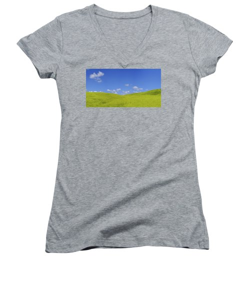 Rapeseed Landscape Women's V-Neck T-Shirt (Junior Cut) by Marius Sipa