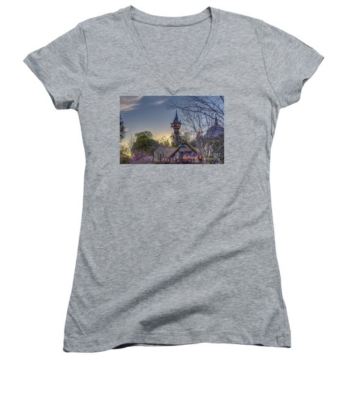 Rapunzel's Tower At Sunset Women's V-Neck T-Shirt