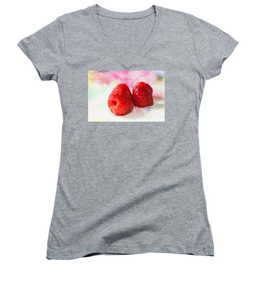 Raspberries Women's V-Neck (Athletic Fit)