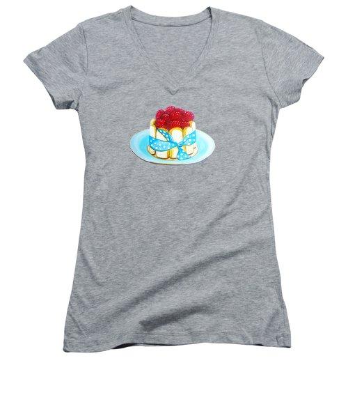 Raspberry Finger Biscuit Dessert Illustration Women's V-Neck T-Shirt (Junior Cut) by Sonja Taljaard