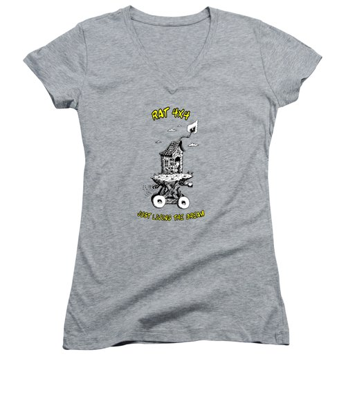 Women's V-Neck T-Shirt (Junior Cut) featuring the drawing Rat 4x4 - Just Living The Dream by Kim Gauge