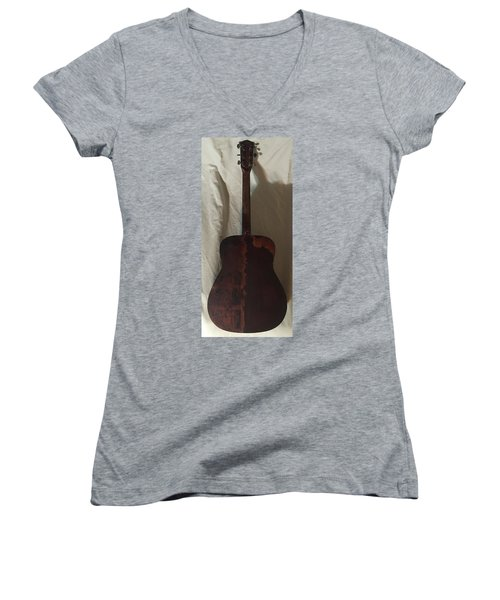 Women's V-Neck T-Shirt (Junior Cut) featuring the mixed media Rat Guitar 2 Back by Steve  Hester