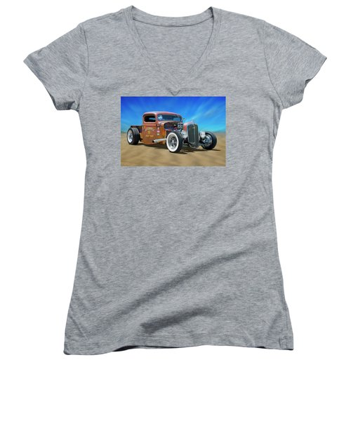 Women's V-Neck T-Shirt (Junior Cut) featuring the photograph Rat Truck On The Beach by Mike McGlothlen