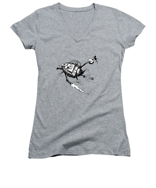 Rats In Space Women's V-Neck T-Shirt (Junior Cut) by Kim Gauge