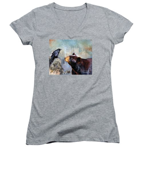 Raven And The Bear Women's V-Neck T-Shirt (Junior Cut) by J W Baker