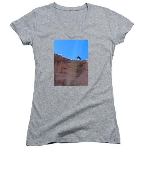 Women's V-Neck T-Shirt (Junior Cut) featuring the photograph Raven by Brenda Pressnall