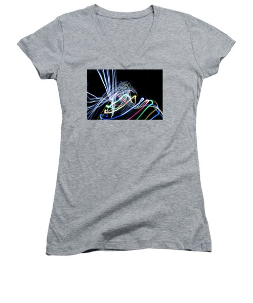 Raven In The Night Women's V-Neck T-Shirt (Junior Cut) by Ellery Russell