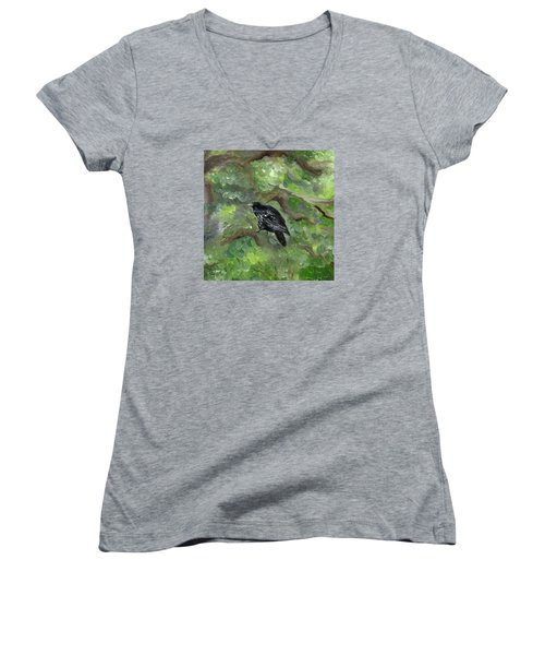 Raven In The Om Tree Women's V-Neck T-Shirt (Junior Cut) by FT McKinstry