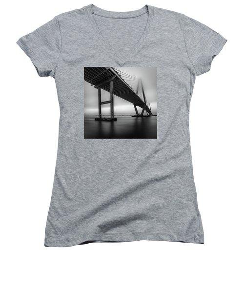 Ravenel Bridge November Fog Women's V-Neck T-Shirt