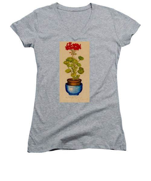 Ray-bet Geranium Women's V-Neck T-Shirt