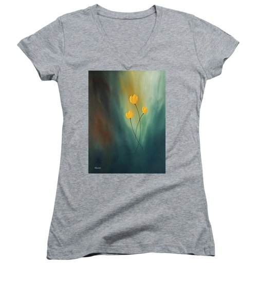 Women's V-Neck T-Shirt (Junior Cut) featuring the painting Rays Of Hope by Carmen Guedez