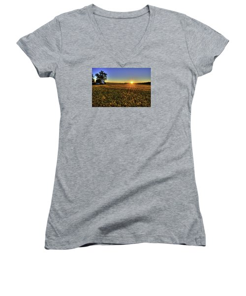Rays Over The Field Women's V-Neck