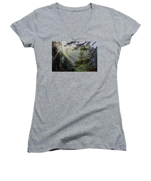 Morning Rays Through An Oregon Rain Forest Women's V-Neck