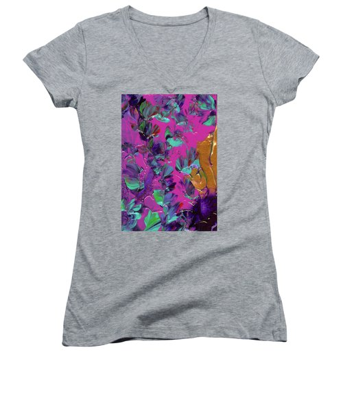 Razberry Ocean Of Butterflies Women's V-Neck (Athletic Fit)
