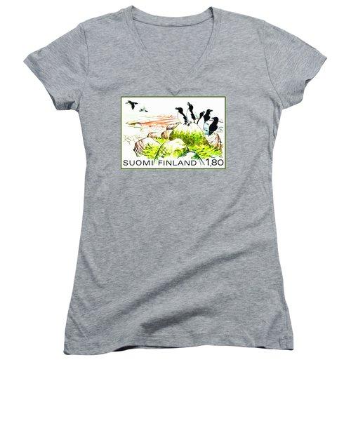 Razorbills Women's V-Neck T-Shirt (Junior Cut) by Lanjee Chee