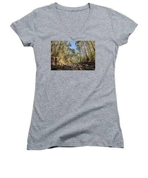 Women's V-Neck T-Shirt featuring the photograph Reaching Skyward by Linda Lees