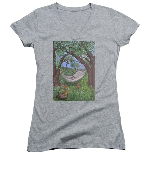 Women's V-Neck T-Shirt (Junior Cut) featuring the painting Reading Time by Debbie Baker