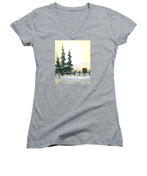 Women's V-Neck T-Shirt (Junior Cut) featuring the painting Ready For Holidays by Dorothy Maier