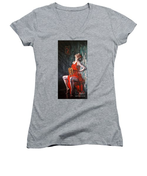 Women's V-Neck T-Shirt (Junior Cut) featuring the painting Ready The Dance Within by Janet McDonald