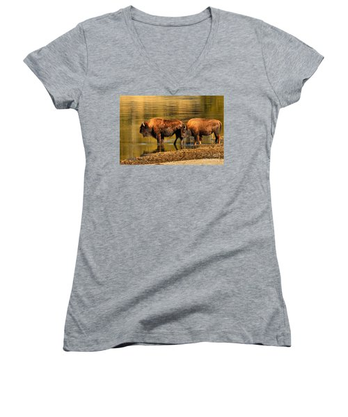 Women's V-Neck T-Shirt (Junior Cut) featuring the photograph Ready To Cross The Yellowstone by Adam Jewell