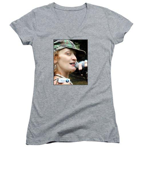 Ready To Play Catch Women's V-Neck T-Shirt (Junior Cut)
