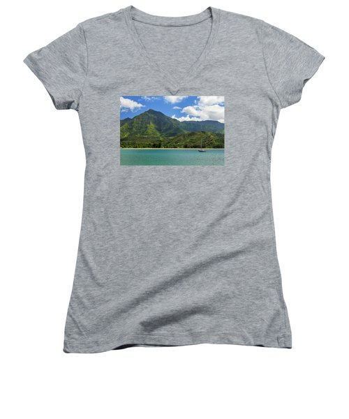 Ready To Sail In Hanalei Bay Women's V-Neck T-Shirt (Junior Cut) by James Eddy