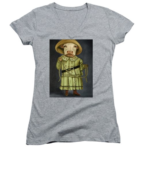 Women's V-Neck T-Shirt (Junior Cut) featuring the painting Real Cowgirl 2 by Leah Saulnier The Painting Maniac