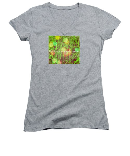 Reality Women's V-Neck T-Shirt (Junior Cut) by Artists With Autism Inc